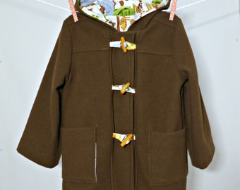 CLEARANCE Hooded Duffel Coat, Toggle Jacket, Toddler Boys Winter Coat in Brown Wool, Size 4, Jungle Print Lining