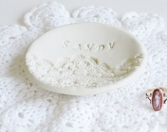 Personalized Gift for Wife Ring Holder - Wedding Ring Dish - Lace Wedding gift for Bride - Unique Bridesmaid Gift - 13th Anniversary Gift