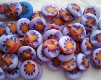 Store Closing - SEE SHOP ANNOUNCEMENT for huge discount!  Purple Flower Buttons - 48 - 5/8's inch is the smallest