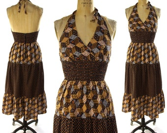 70s Cotton Halter Dress / Vintage 1970s Hippie Boho Sundress in Brown Calico / Bohemian Festival Tiered Circle Skirt Smocked Waist / Small