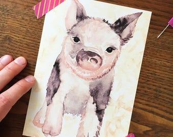 Piglet Art. Baby Pig Art Print. Watercolor Pig. Nursery Decor. 5 x 7 Print. Children's Decor. Farm Decor. Baby Shower Gift. Ready to Frame