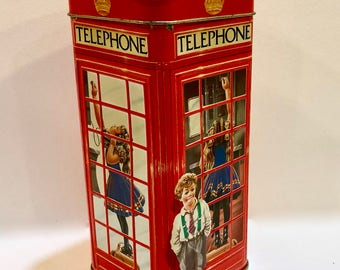 Vintage Telephone Booth Tin, London England, Phone Kiosk, British Red Phone Booth, Metal Money Bank, 3D Boy Girl Dog, Churchill's Toffee Tin