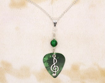 Green Guitar Pick With Treble Clef & Beads Pendant On Silver Plated Chain Necklace