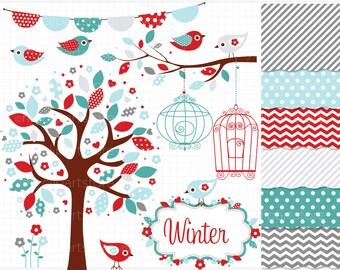 Clipart Combo - Bohemian Winter Garden Clipart -  Birds / Christmas Clip Art / Digital Clipart - Instant Download