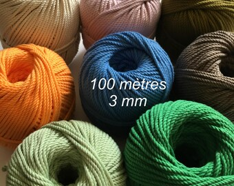 Roll ( around 320 ft)  of cotton rope for macrame , diameter 3mm ( 9 ga) 3 ply twisted rope, made in france