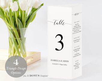 Printable Triangle Table Numbers, Three-sided Table Numbers Menu Program, Poem, Instant Download, Editable PDF, Modern Calligraphy #SPP007tr