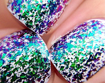 FLAKIE-Fantasy Topcoat (larger flakes) Multi-Color Shifting Polish:  Custom-Blended Glitter Nail Polish / Indie Lacquer /Polish Me Silly