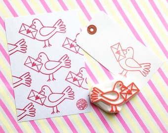 bird rubber stamp   love letter & dove   woodland animal card making   diy snail mail   wedding gift wrapping   hand carved by talktothesun