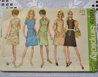 Simplicity 8809 Sewing Pattern Misses Dress Size 16 DIY Vintage Clothing Fashion Sewing Crafts PanchosPorch