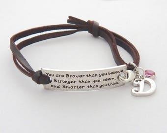 INSPIRATIONAL BRACELET, Leather Bracelet, Inspirational Jewelry, BRAVER Stronger Leather bracelet Gift, Motivational Bracelet, Boho Bracelet