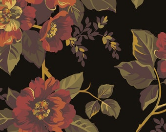 Ginger Rose Fabric - Roses on Black Fabric