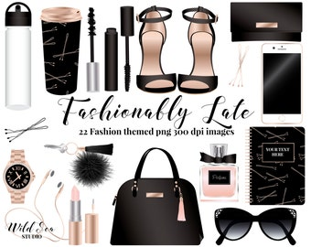 Fashion Accessories Clipart, Handbag, watch, coffee cup, water bottle, sunglasses, phone, lipstick, shoes, hairpins, perfume, keychain