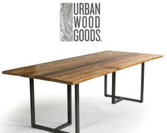 Industrial Modern Wood Table With Reclaimed Wood Table Top, Conference Table,  Dining Table With