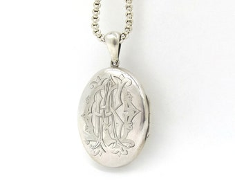 Large Antique Sterling Locket Pendant On An Antique Belcher Chain | Victorian Silver Monogram Locket Necklace | Oval Photo Locket