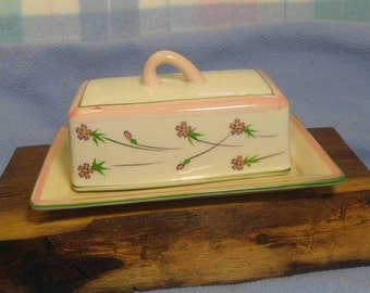 Vintage Butter or Cheese Keeper Dish Hand Painted Pink Green Flowers
