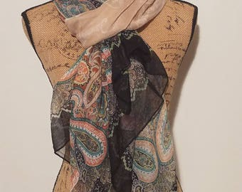 Large sheer polyester artsy versatile scarf shawl wrap