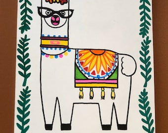 Alpaca painting- llama painting- boho decor- girls room decor- teen decor- tween decor- birthday- teen gift- tween gift