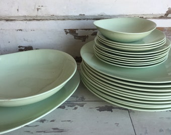 Vintage Johnson Brothers Green Cloud Mint Green MCM Dishes - Plates, Bowl, Platter, Saucers - Choice