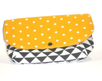 Padded pouch in yellow, white and black cotton