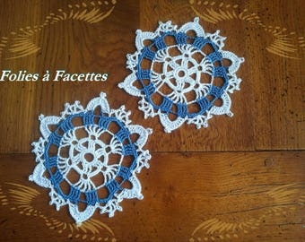 Two placemats, coasters, white and blue crochet