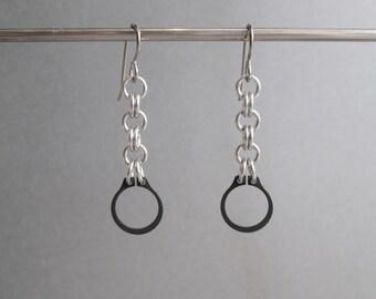 Chain Earrings, Industrial Jewelry, Steel Earrings, Long Dangle Earrings, Hardware Earrings, Hypoallergenic Earrings, Edgy Jewelry