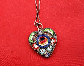 SALE NOW 99.00  Vintage Micro Mosaic Heart Pendant  WAS 125.00