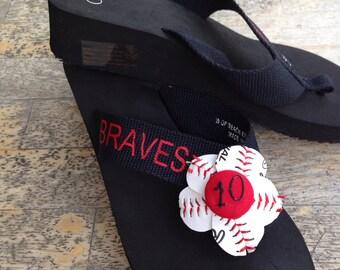 Baseball flip flop with name & number