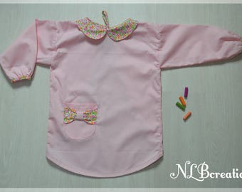Blouse, apron school school sleeves for 5-7 years old girl - pink 1