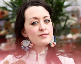 Tassel Pastel Multicolor Statement Earrings