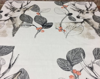 Linen White Tablecloth with deer, print plant leaves, home decor