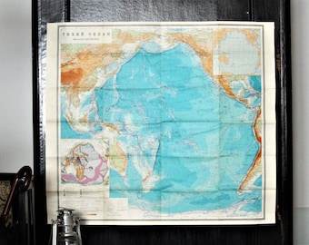Travel Gift - Wall Decor - Large Map of Pacific Ocean - Ocean Map - Vintage Map Paper - Map for Framing - Map Decor - Map Gift