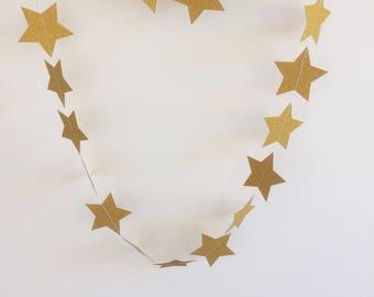 Gold Star Garland, Gold Glitter Star Garland,  Gold Star Decoration, Star Party Decoration, Christmas Decorations, Celebrations