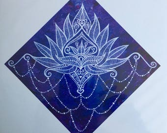 Signed Reproduction Print of the Lotus Bloom- Serenity Painting by Bronwen Valentine