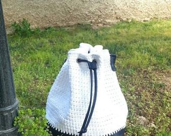 Genuine Leather Bag,Leather Backpack, Bucket bag, Leather Shoulder bag, Handles Bag,  Shopping Bag, Summer Beach Bag