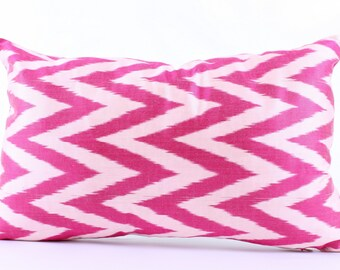Pink, Silk, Ikat,Zigzag, Pillow Cover, Decorative, Throw, Pillow, Case, Cushion Cover Decor Modern Pillow Cover Zigzag Green Ikat Pillow