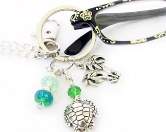 Turtle Eyeglass Lanyard, Eyeglass Necklace, Women's Gift, Badge Leash, ID Lanyard, Eyeglass Chain, Eyeglass Holder, Badge Holder