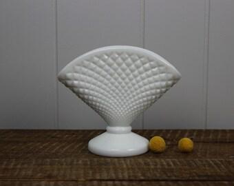 Westmoreland English Hobnail Milk Glass Footed Fan Vase