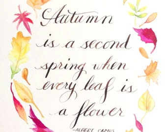 Autumn Leaf Quote printable art calligraphy watercolor leaves