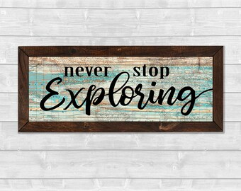 Never Stop Exploring Wooden Framed Map Canvas Print