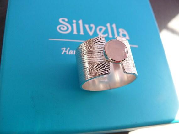 Rose Quartz Sterling Silver Ring - Silver Ring - Handmade Rings - Chakra