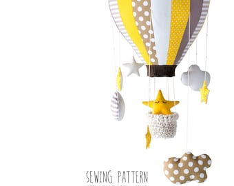 B3 - Pattern Hot Air Balloon with Crochet Basket, Stars and Clouds - 8 and 16 Segments - Crib Mobile, Baby Mobile, Nursery & Home Decor DIY
