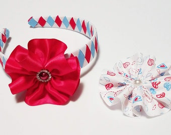 Red, White, and Blue Braided Headband with Interchangeable Flowers,  Independence Day Headband, Red Flower Headband,  Headband for Girl