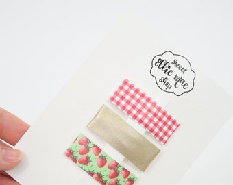 Red Gingham, Pale Gold, Strawberry Patch | Faux Leather and Glitter Snap Clips