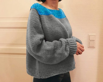 oversized 100% wool hand knitted grey turquoise