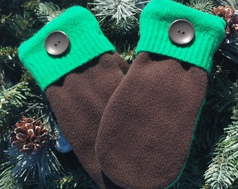 Small Sweater Mittens, Recycled Sweater Mittens, Brown Mittens, Brown and Green Recycled Sweater Mittens - RSM00078