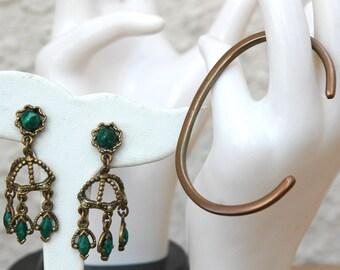 Brass Cuff Bracelet and Boho Earrings Vintage