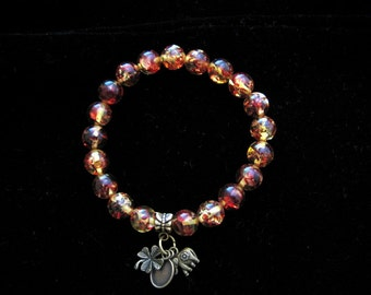 AMBER BEADS Stretch Bracelet with Lucky Brass Charms