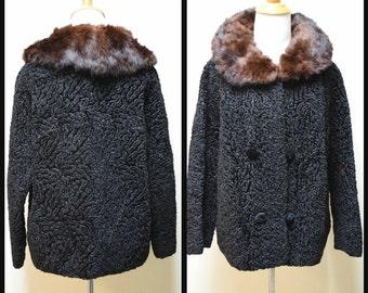 VTG 50s/60s WINKLEMAN'S Black Faux Persian Lamb Jacket w Fur Collar Size S/M