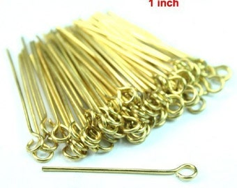 100 pcs Raw Brass Eye Pins 26mm 1 inch 21 Guage Soft Wire Easy to Manipulate -PN-E26x0.7RB