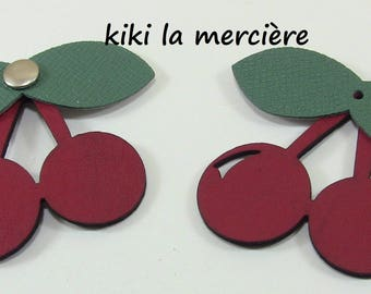 set of 2 cherries, fruit leatherette thick riveting red and green 5 / 5 cm